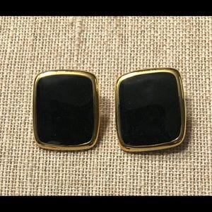 MONET Vintage Gold Tone & Enamel Clip On Earrings